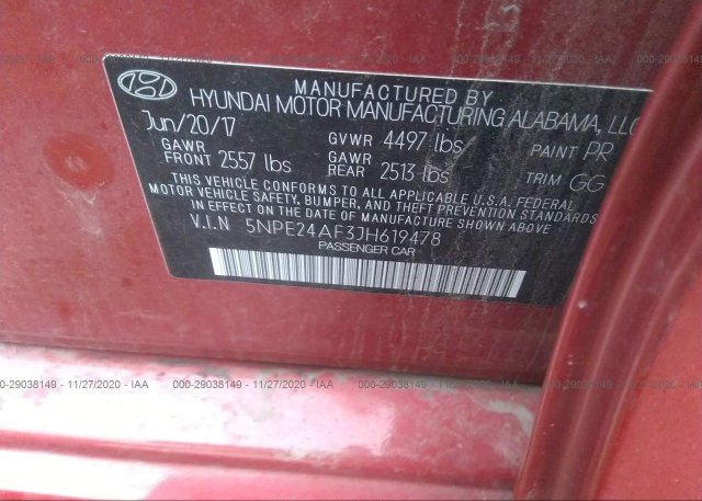 5NPE24AF3JH619478 2018 HYUNDAI SONATA