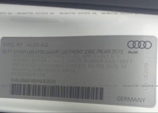 2017 AUDI A4 - WAUANAF46HN063539