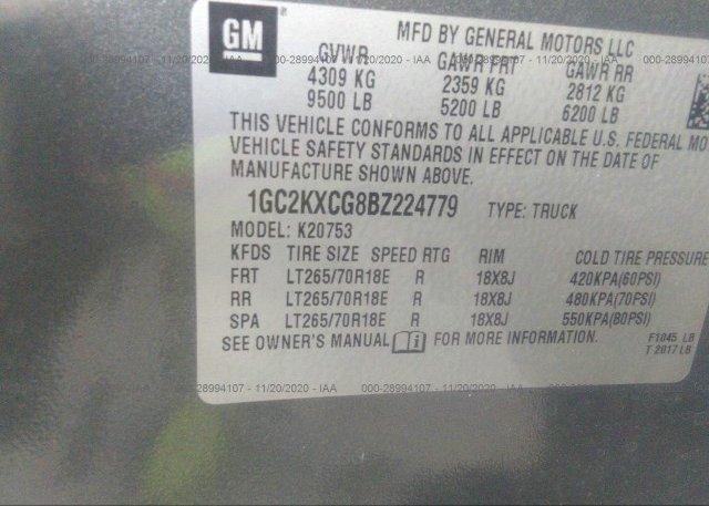 1GC2KXCG8BZ224779 2011 CHEVROLET SILVERADO 2500HD