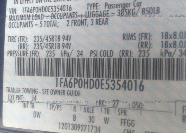 1FA6P0HD0E5354016 2014 FORD FUSION