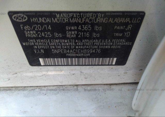 5NPEB4AC1EH899476 2014 HYUNDAI SONATA