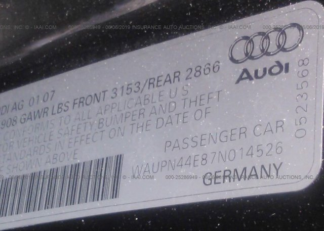 2007 AUDI S8 - WAUPN44E87N014526