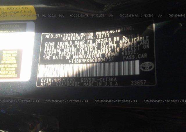 4T1BK1FK6CU004757 2012 TOYOTA CAMRY