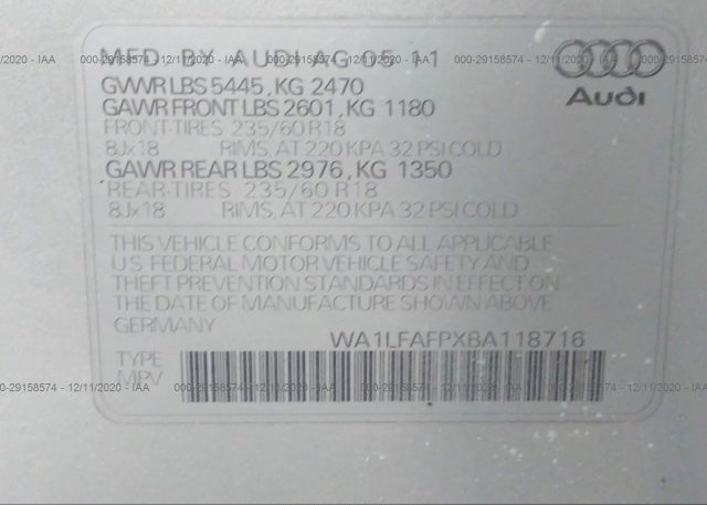 WA1LFAFPXBA118716 2011 AUDI Q5