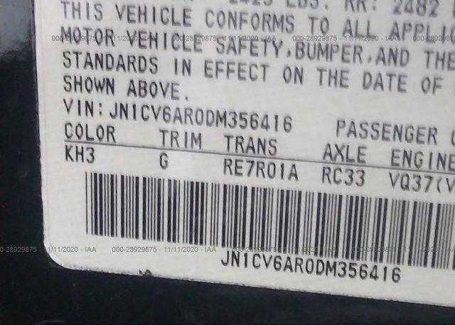JN1CV6AR0DM356416 2013 INFINITI G37 SEDAN
