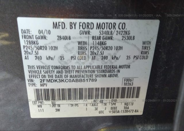 2FMDK3KC0ABB51789 2010 FORD EDGE
