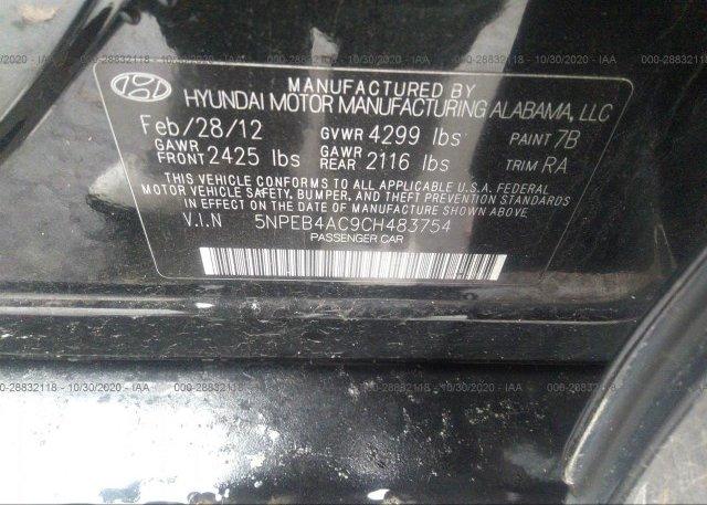 5NPEB4AC9CH483754 2012 HYUNDAI SONATA