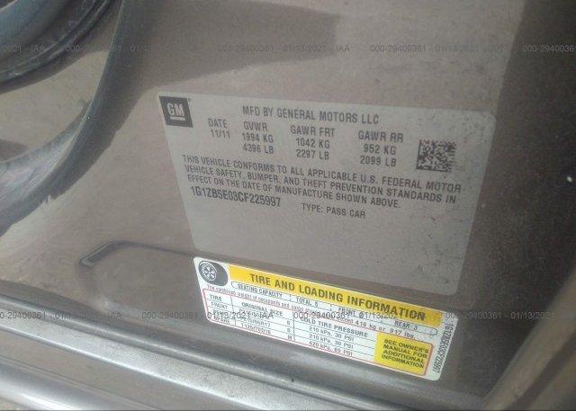 1G1ZB5E03CF225997 2012 CHEVROLET MALIBU