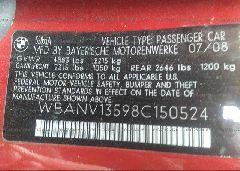 2008 BMW 528 - WBANV13598C150524 engine view