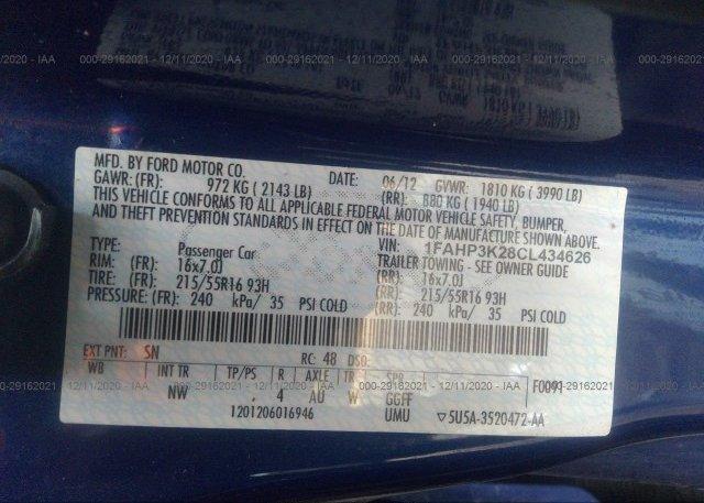 1FAHP3K28CL434626 2012 FORD FOCUS