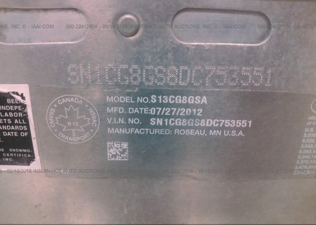2013 POLARIS INDY 800 RMK - SN1CG8GS8DC753551