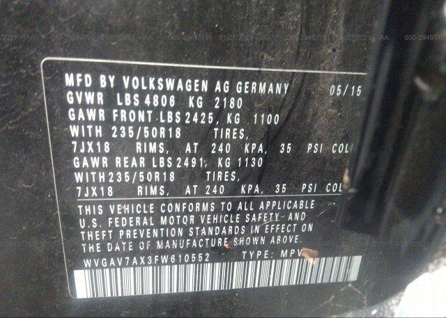 WVGAV7AX3FW610552 2015 VOLKSWAGEN TIGUAN