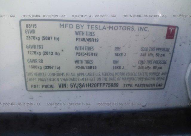 2015 Tesla MODEL S - 5YJSA1H20FFP75989