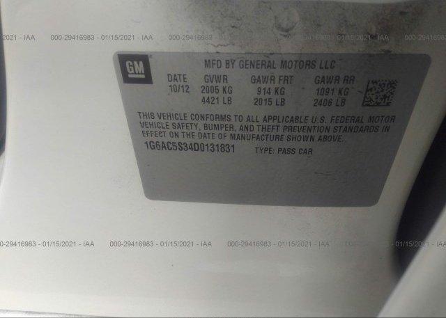 1G6AC5S34D0131831 2013 CADILLAC ATS