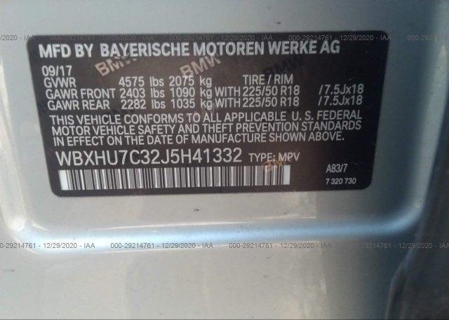 WBXHU7C32J5H41332 2018 BMW X1