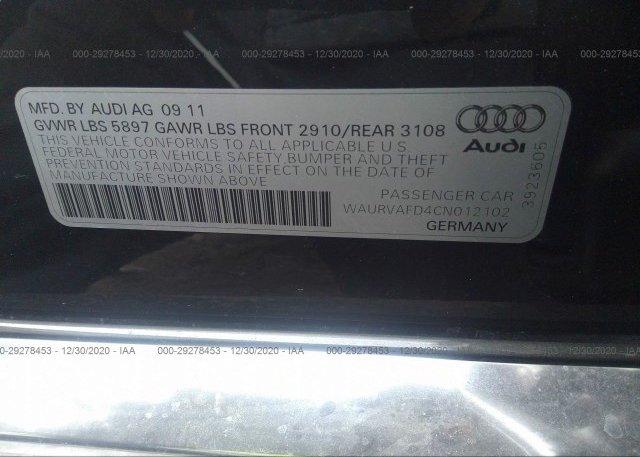 WAURVAFD4CN012102 2012 AUDI A8 L