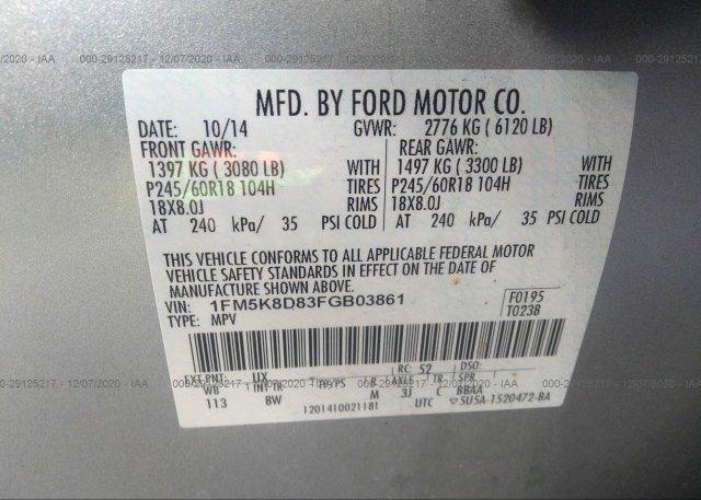 1FM5K8D83FGB03861 2015 FORD EXPLORER