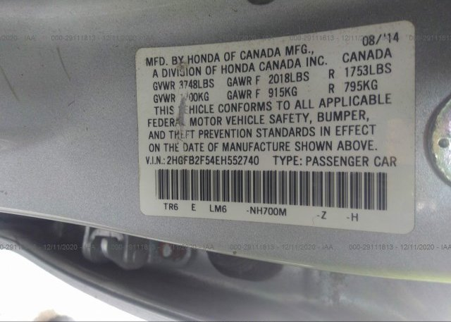 2HGFB2F54EH552740 2014 HONDA CIVIC SEDAN