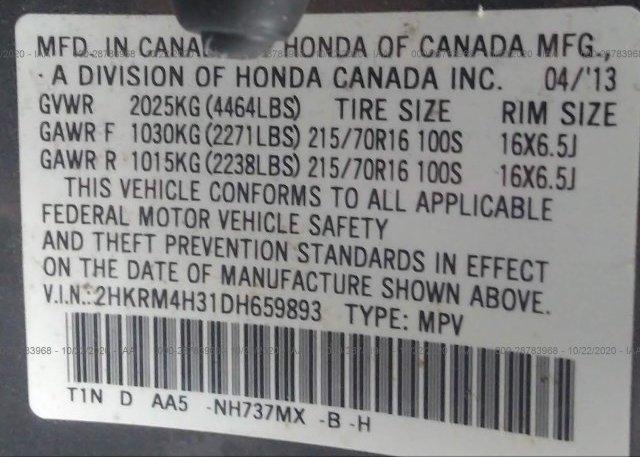 2HKRM4H31DH659893 2013 HONDA CR-V
