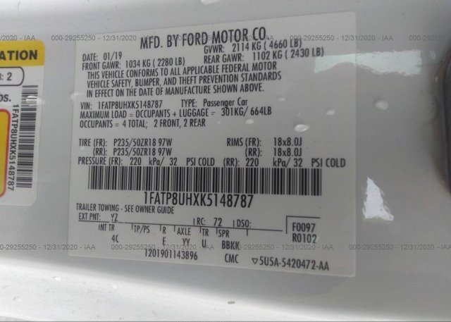 1FATP8UHXK5148787 2019 FORD MUSTANG