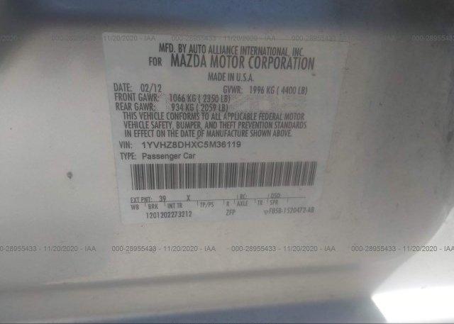1YVHZ8DHXC5M36119 2012 MAZDA MAZDA6