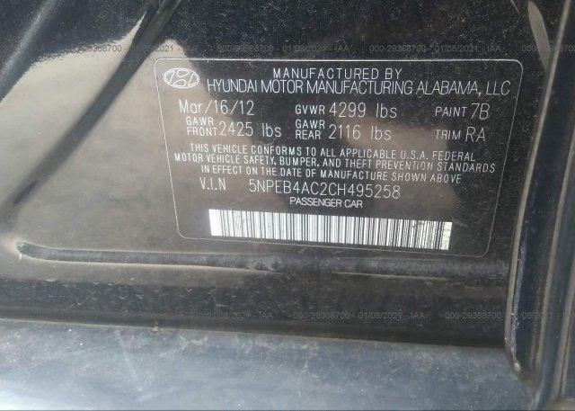 5NPEB4AC2CH495258 2012 HYUNDAI SONATA
