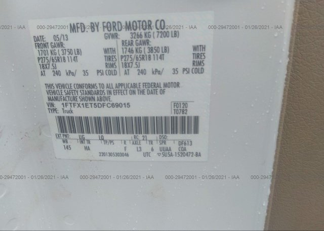 1FTFX1ET5DFC69015 2013 FORD F-150