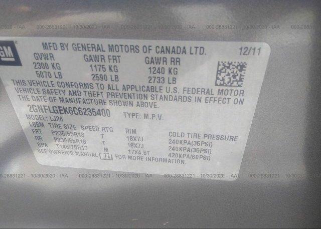 2GNFLGEK6C6235400 2012 CHEVROLET EQUINOX