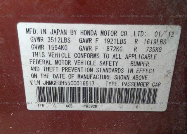 JHMGE8H55CC016517 2012 HONDA FIT