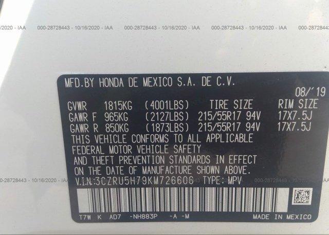 3CZRU5H79KM726606 2019 HONDA HR-V