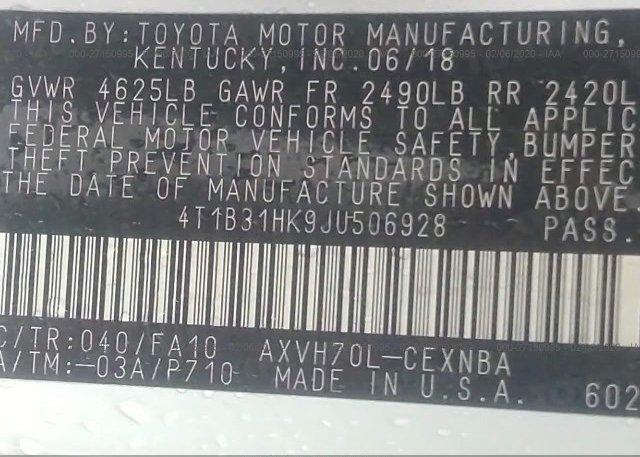 4T1B31HK9JU506928 2018 Toyota CAMRY