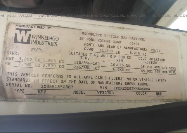1991 FORD ECONOLINE - 1FDKE30G7MHB06084