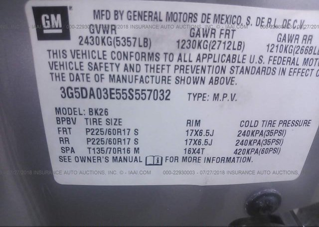 2005 Buick RENDEZVOUS - 3G5DA03E55S557032