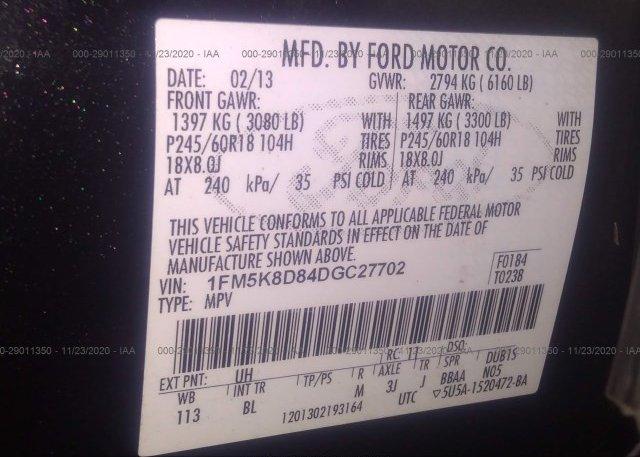 1FM5K8D84DGC27702 2013 FORD EXPLORER