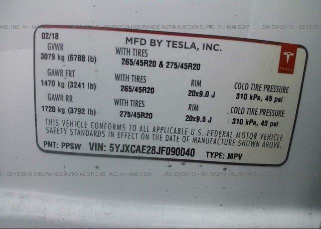 2018 Tesla MODEL X - 5YJXCAE28JF090040