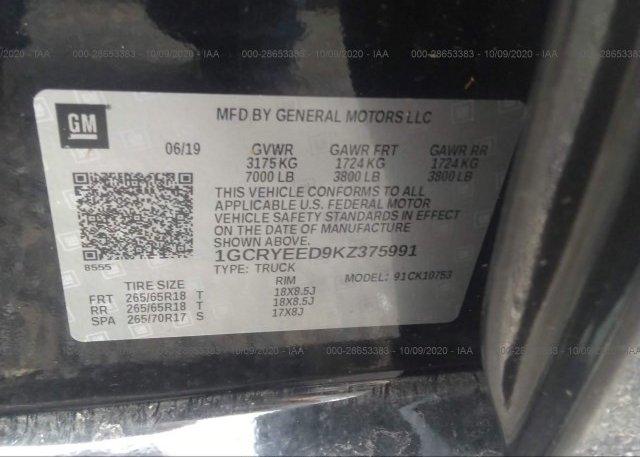 1GCRYEED9KZ375991 2019 CHEVROLET SILVERADO 1500
