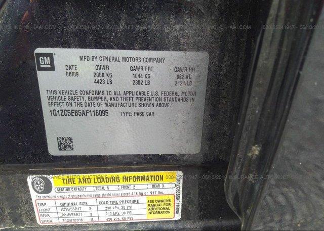 1G1ZC5EB5AF116095, Salvage black Chevrolet Malibu at