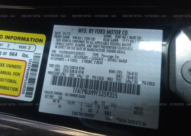 1FATP8UH9F5359355 2015 FORD MUSTANG