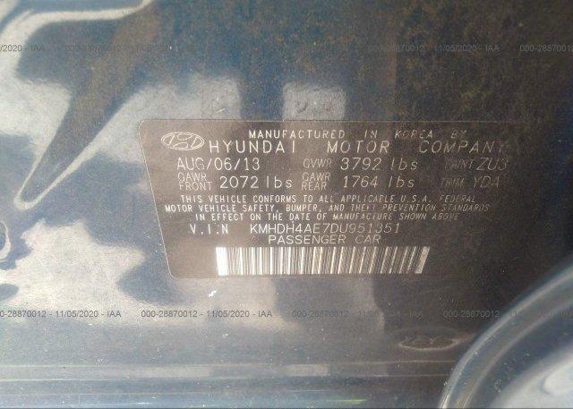 KMHDH4AE7DU951351 2013 HYUNDAI ELANTRA