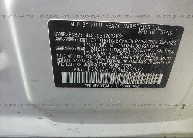 2016 Subaru FORESTER - JF2SJABCXGH422082