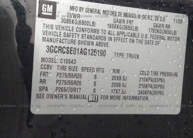 3GCRCSE01AG126190 2010 CHEVROLET SILVERADO 1500