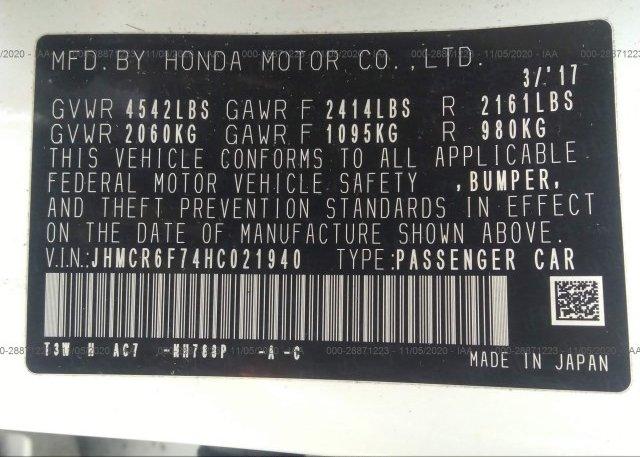 JHMCR6F74HC021940 2017 HONDA ACCORD HYBRID