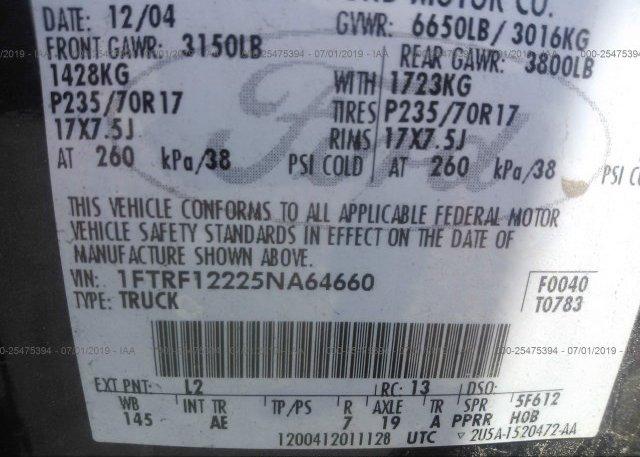 2005 FORD F150 - 1FTRF12225NA64660