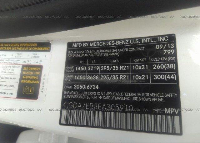 4JGDA7EB8EA305910 2014 MERCEDES-BENZ M-CLASS