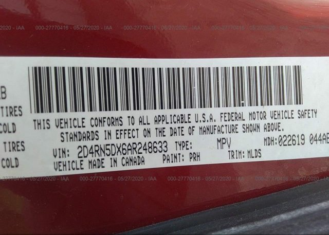 2D4RN5DX6AR248633 2010 Dodge GRAND CARAVAN