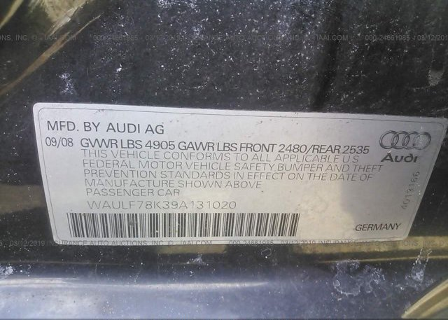 2009 AUDI A4 - WAULF78K39A131020