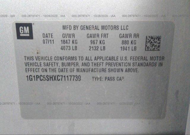 1G1PC5SHXC7117739 2012 CHEVROLET CRUZE