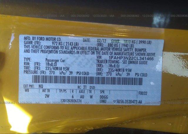 1FAHP3N22CL341466 2012 FORD FOCUS