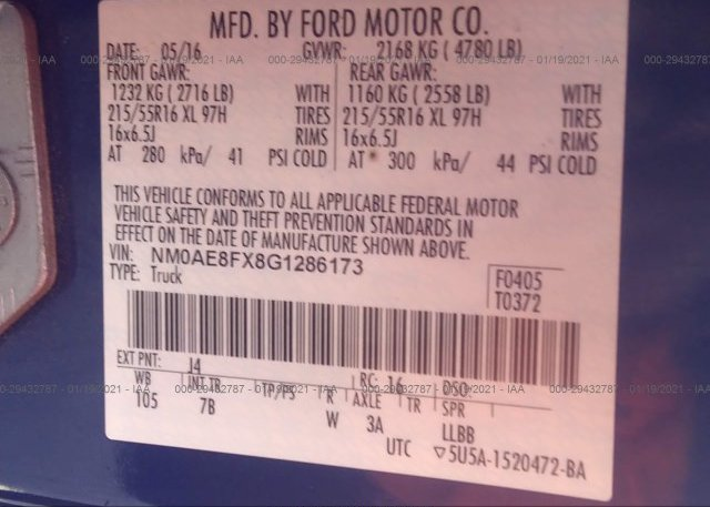 NM0AE8FX8G1286173 2016 FORD TRANSIT CONNECT WAGON