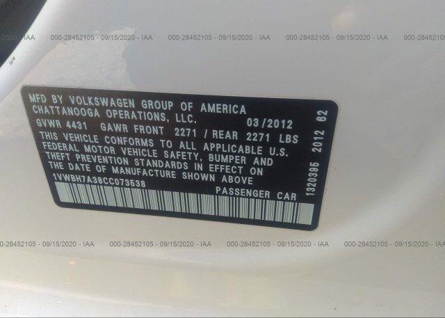 1VWBH7A38CC073538 2012 VOLKSWAGEN PASSAT